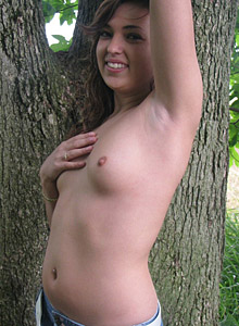Slutty Ex Girlfriend Strips Naked In The Forest - Picture 5